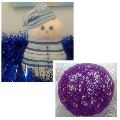 Детские новогодние поделки Шарик и Снеговик