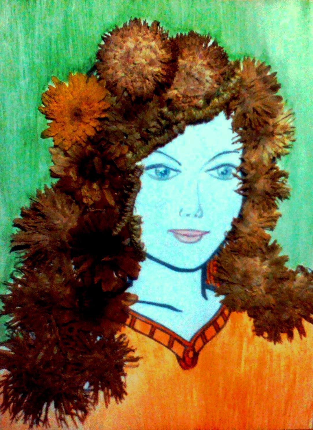 Картинка девушки с волосами из листьев