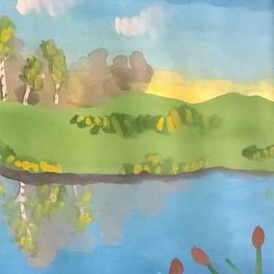 Коллективная работа картина Река