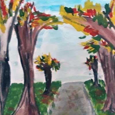 Рисунок дошкольника Осенняя пора