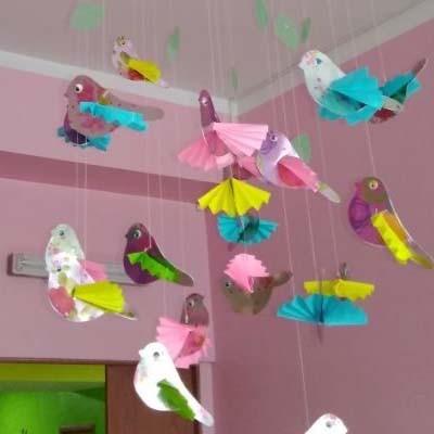 Весенний подвесной мобиль Птички