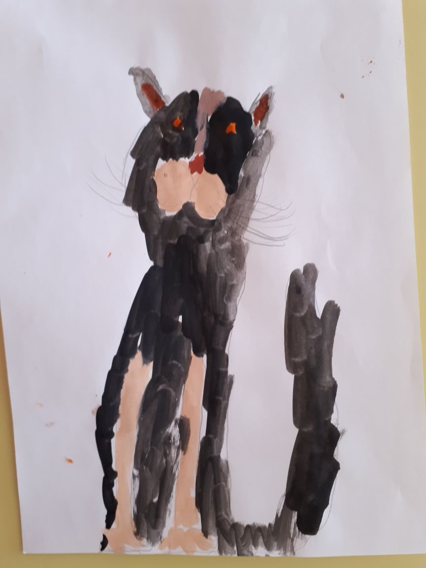 Рисунок красками Любимый кот