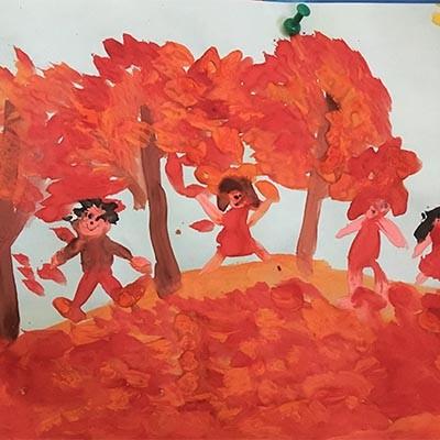 Осенняя прогулка рисунок на тему Осень