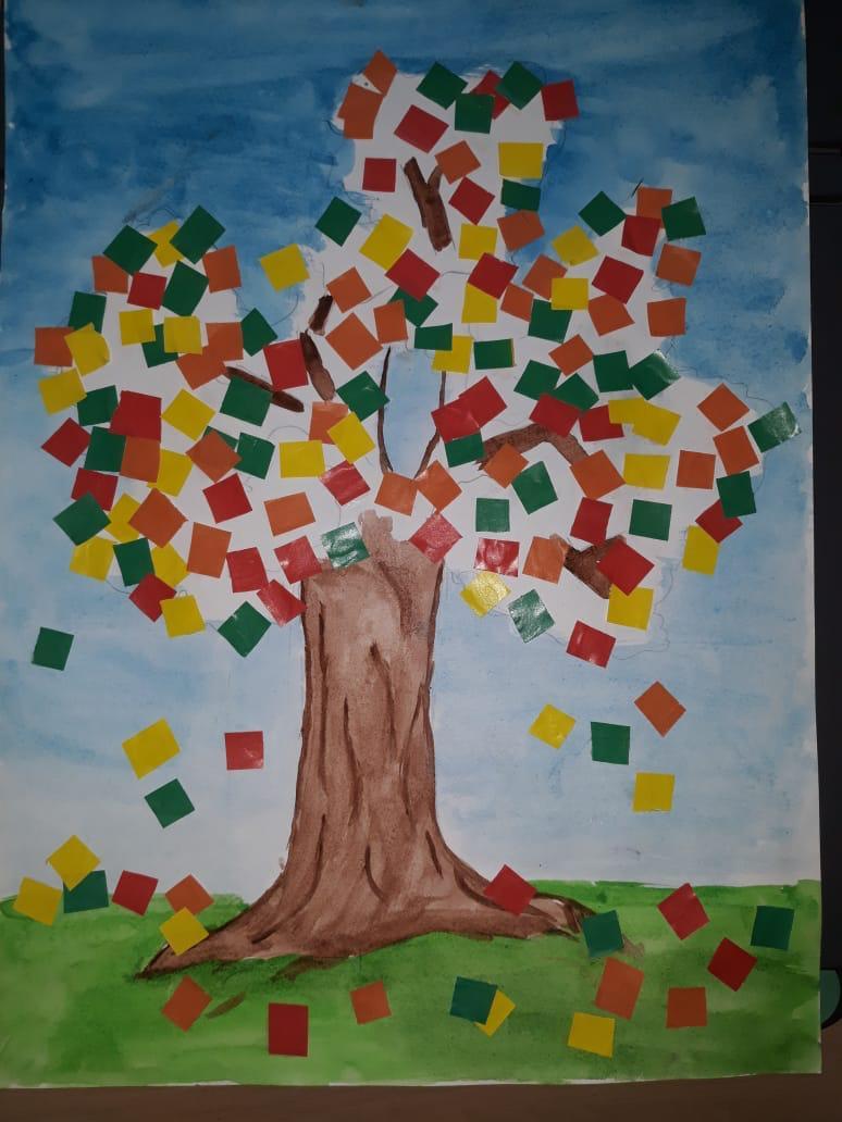 Аппликация Дерево осенью