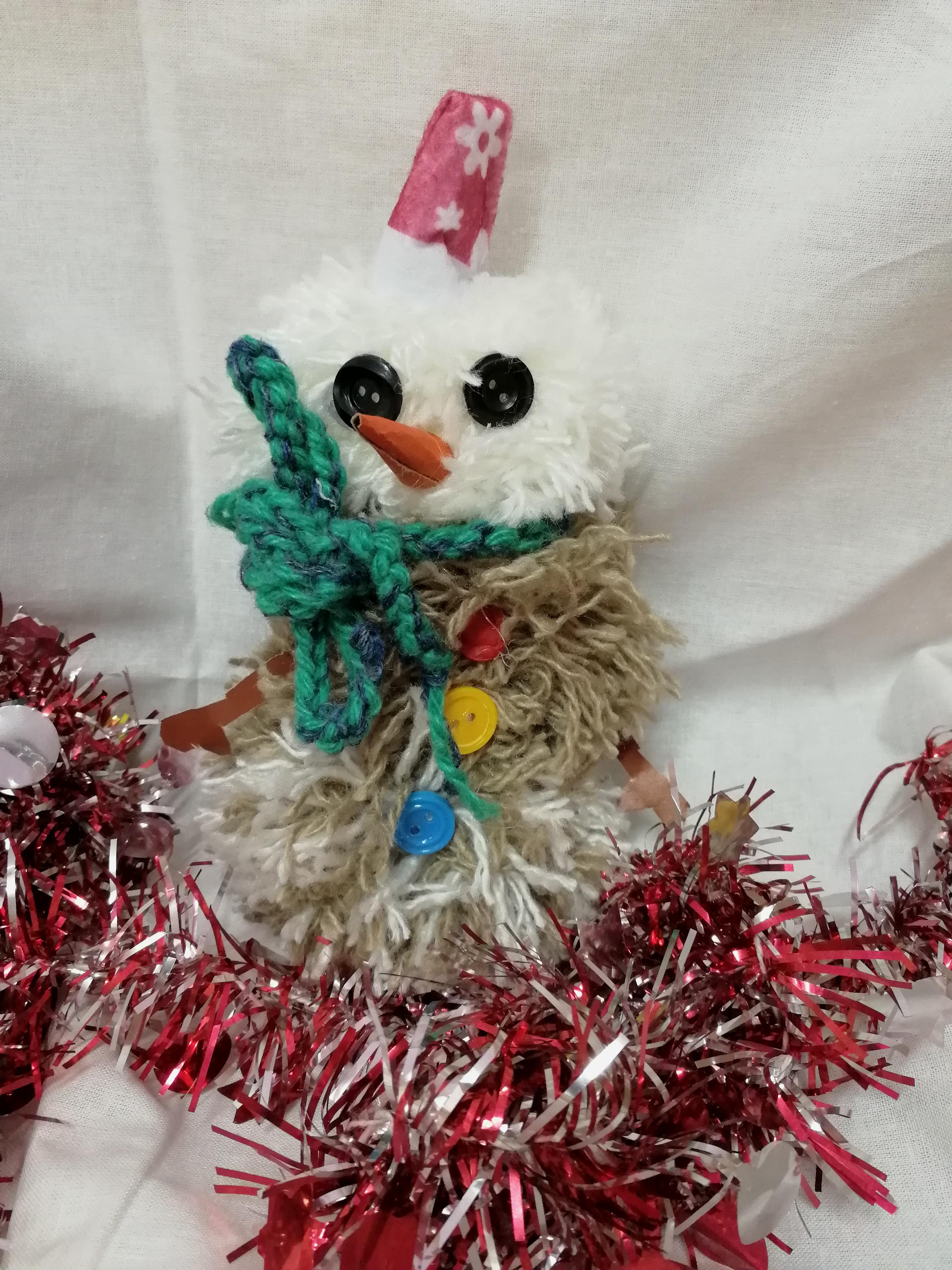 Детские новогодние поделки Новогодний снеговичок